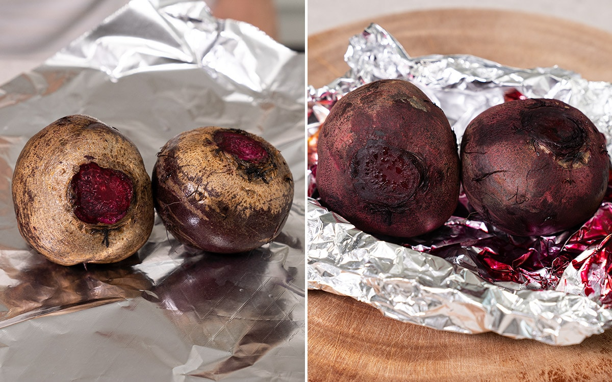 a collage of beetroots before and after roasting