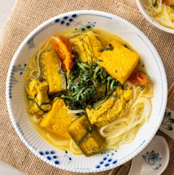 a bowl of Vietnamese braised pork ribs with tofu and turmeric