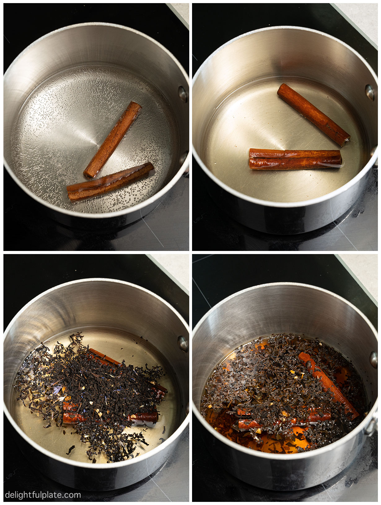 photos of steps to simmer cinnamon sticks and brew tea
