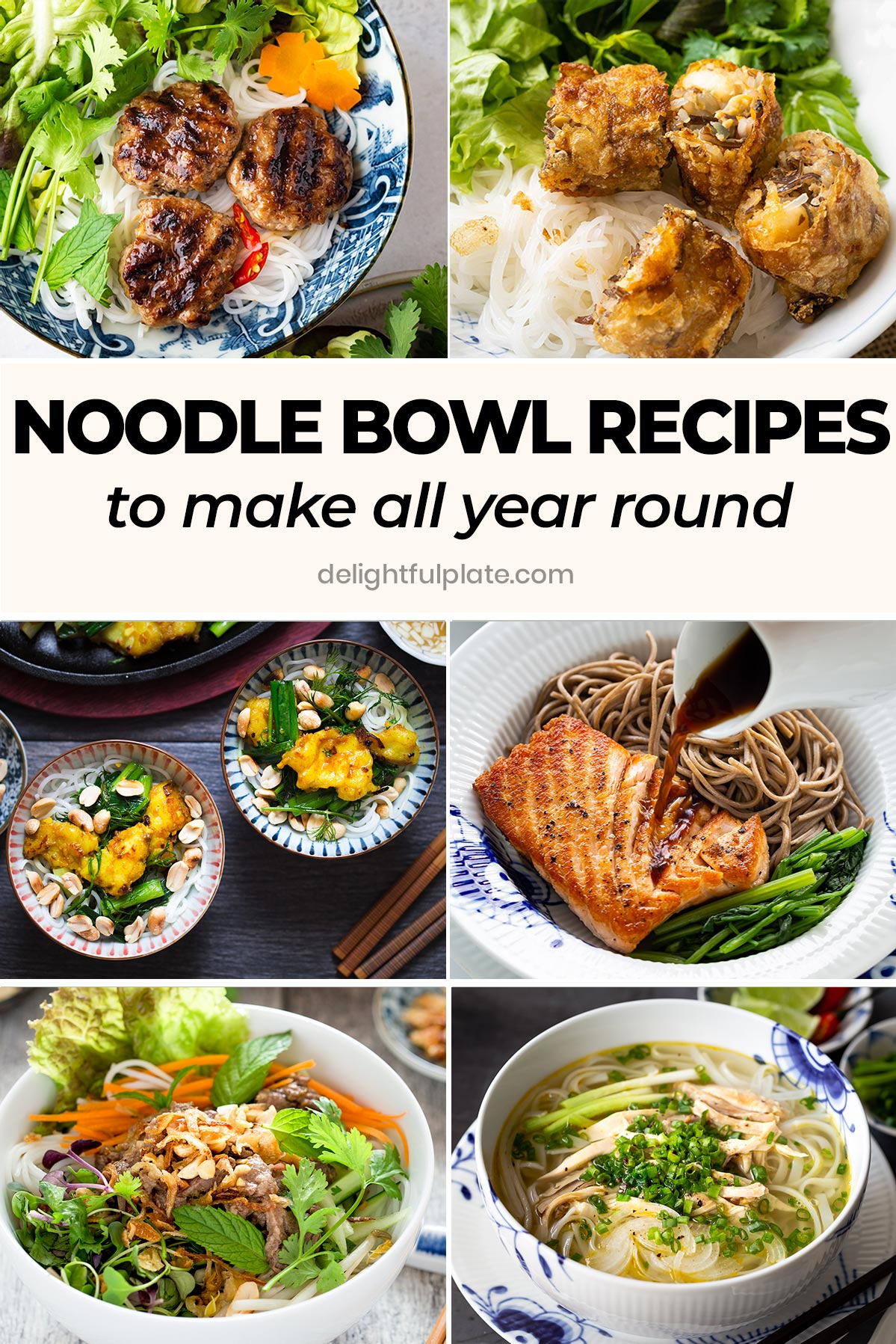 a collage of noodle bowl dishes